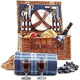 VonShef Klassischer Picknickkorb Deluxe mit Besteck, Geschirr, Gläsern & Fleecedecke für 2 Personen