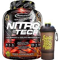 Muscletech Performance Series Nitrotech Whey Protein Peptides & Isolate (30g Protein, 1g Sugar, 3g Creatine, 6.9 BCAAs, 5.3g Glutamine & Precursor, Post-Workout) - 4lbs (1.81 kg) (Milk Chocolate)