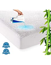 """OYO BABY Waterproof Mattress Protector Hypoallergenic Double Bed King Size Cover (White, 72""""x78""""xSkirting 12"""")"""