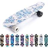 Meteor Skateboard Mini Cruiser Retro Board Completo con Cuscinetti ABEC-7 e Ruote PU Ideale per Bambini Adolescenti e Adulti