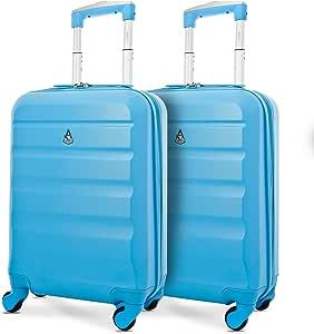 Aerolite ABS Cabin Hardshell Travel Luggage, 21-Inch/55cm, Blue, Set of 2