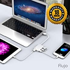 Flujo Ultra Slim Aluminum 4 Port Portable USB 3.0 HUB with 15CM Cable for MacBook, Ultrabook and Laptop (Silver)