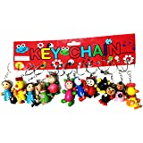 Elburs   (Pack of 12) Wooden Cute Different Animals Shape Key Ring   Multipurpose Keychain for Girls / Boys   Multicolour (Se