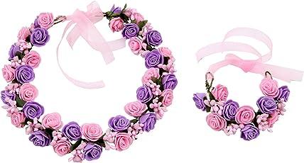 Sanjog Fashion Purple Pink Flower Crown And Hand Tiara Puff Wrap For Women Kids Girls