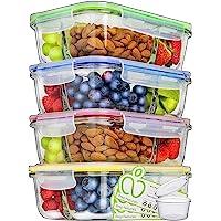 Prep Naturals Lot de 4 boîtes de conservation en verre avec couvercle de 1000 ml - 3 compartiments - Boîte à lunch…