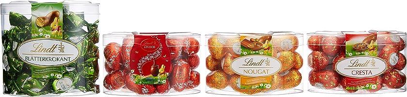Lindt Schokoladen Eier Mischung, 4 Sorten Ostereier (Blätterkrokant, Vollmilch, Nougat, Cresta) Schokoladen...