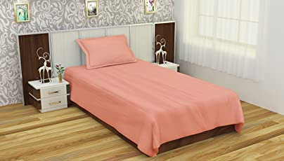 """Trance Home Linen 100% Cotton 210TC Satin Satrip Single Fitted Bedsheet 78"""" * 36"""" with 1 Pillow Cover"""
