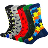 HIWEAR 5 pares de moda coloridos divertidos divertidos cómodos usando calcetines de algodón de diseño