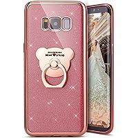 Kompatibel mit Galaxy S8 Plus Hülle,Galaxy S8 Plus Handyhülle,[Bär Handy Ringhalter] Galaxy S8 Plus TPU Silikon Gel Bumper Case Handytasche Glänzend Glitzer Strass Schutzhülle Tasche,Rose Gold