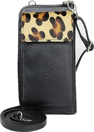 irisaa Handy Umhängetasche Damen Leder, Viele Kartenfächer, made in Italy, Geldbörse Echtleder Brieftasche, Handytasche zum Umhängen, Kleine Handtasche Handy
