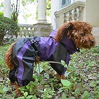 lovelonglong Dog Hooded Raincoat, Small Dog Rain Jacket Poncho Waterproof Clothes with Hood Breathable 4 Feet Four Legs Rain Coats for Small Medium Large Pet Dogs Purple XS