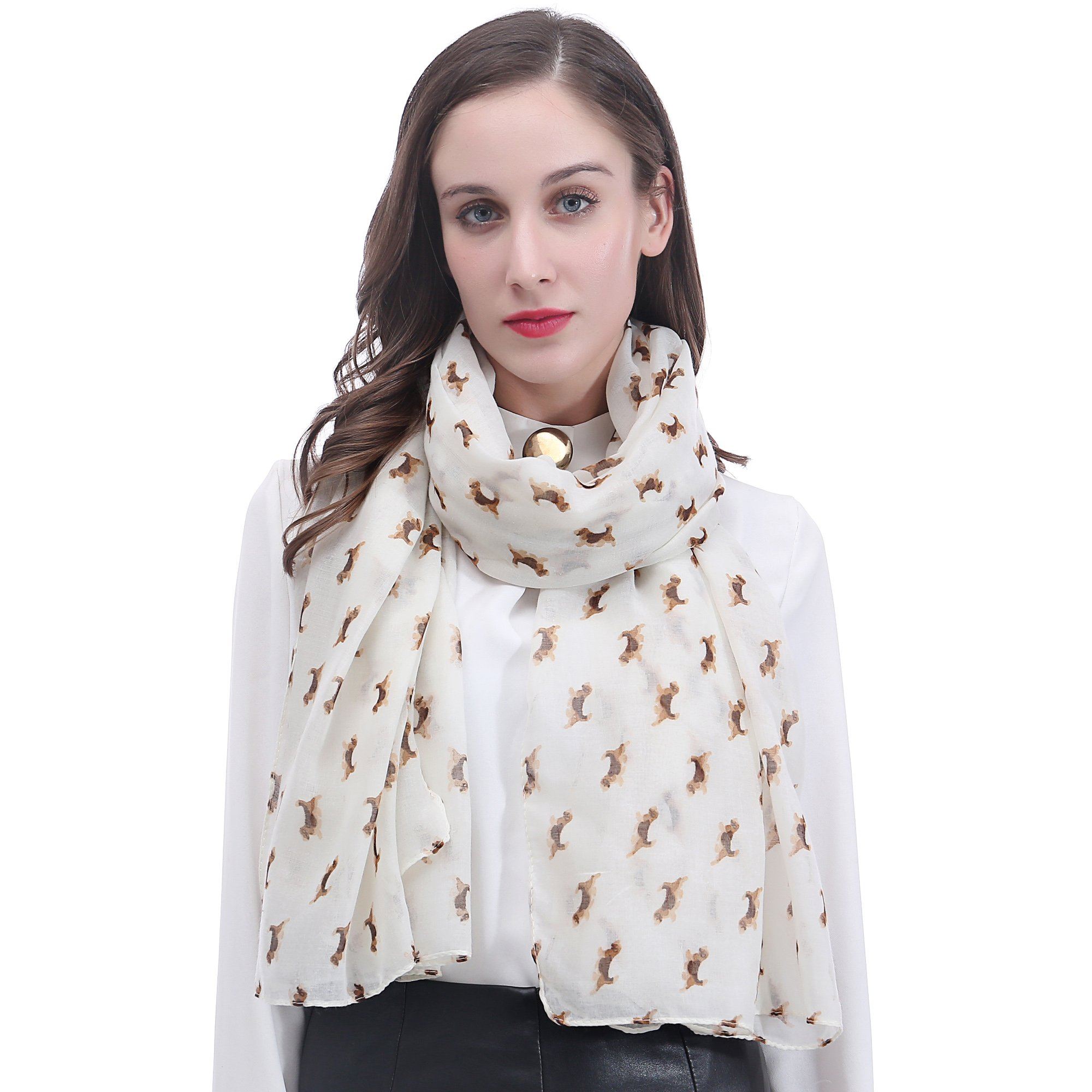 Lina & Lily Beagle Dog Print Women's Scarf Oversized
