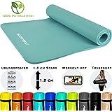 MSPORTS Gymnastikmatte Premium inkl. Tragegurt + Übungsposter + Workout App I Hautfreundliche Fitnessmatte 190 x 60, 80 oder 100 x 1,5 cm - versch. Farben Phthalatfreie Yogamatte