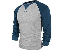 Coofandy Men's Long Sleeve T-Shirt Casual Tee Cotton Raglan Shirts