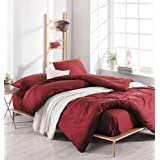 EnLora Home King Quilt Cover Set, Red