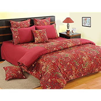 Swayam Shades of Paradise Printed Cotton 8 Piece Bed in a Bag Set - Maroon (BIB-3002)