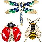 3 Piezas de Broche de Cristal de Diamantes de Imitación, Pasadores de Insecto Abeja Adorable, Broche de Libélula, Mariquita p