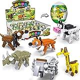 POOPHUNS Building Blocks Giocattoli da Costruzione, Giocattoli in Capsule Animali, Piccoli Giocattoli compositi di Particelle