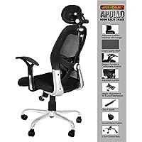SAVYA HOME Apex Chairs Apollo Chrome Base High Back Office Chair (Black)