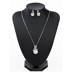 NEOGLORY Conjunto de Joya Serpientes Collar Pendientes Cristales Checos Blanco Perlas Joya Original Regalo Mujer Chica