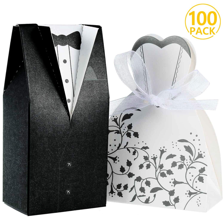 Foonii® 100pcs Cajas de Caramelos Cajas de Regalo (50pcs Novia + 50pcs Novio), Regalo, Recuerdo, Favor, Detalle, Decoración para Invitados de Boda