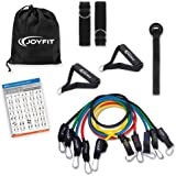JoyFit Resistance Toning Tube Set of 5 with Foam Handles, Door Anchor for Training, Gym Workouts, Home Workout, Physical Ther
