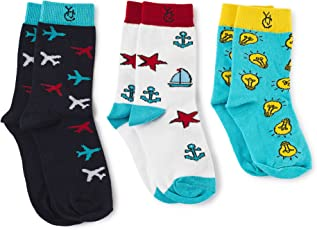 The Yellow Jersey Company (YJC) Pack of 3 Socks Colorful 100% Cotton Combo for Pre-School/Nursery/Play School/Kindergarten and Class 1 to 3 Children