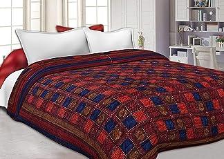 Cloud Mart Jaipuri Razai/Rajai Single Bed Cotton Rajasthani Sanganeri Floral Print Quilt Blanket (Red, 85x55 inches)