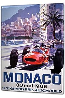 LEotiE SINCE 2004 Plaque en M/étal M/étallique Poster Mural tin Sign 40x30 cm Conception du Garage Grand Prix de Monaco 1960