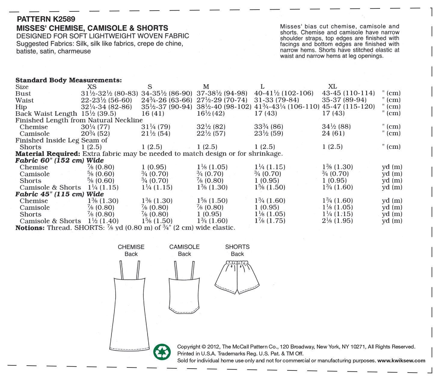 brand new 6481e 4d579 KWIK-SEW PATTERNS K2589 - Cartamodello per pantaloncini, camicette e  camicie, taglie XS, S, M, L e XL, bianco