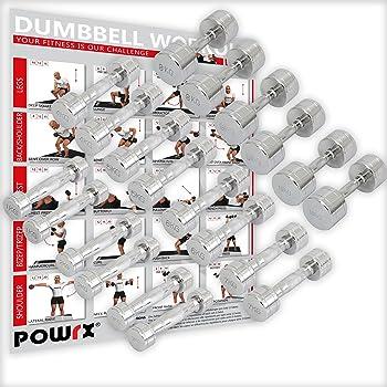 POWRX Mancuernas CROMADAS 50 kg Set (2 x 25 kg)
