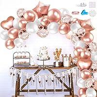iZoeL Arche Ballon Rose Gold Blanc, Arche Ballon Anniversaire Fille Rose Or avec Outils de Ballon, Ballon Guirlande pour…