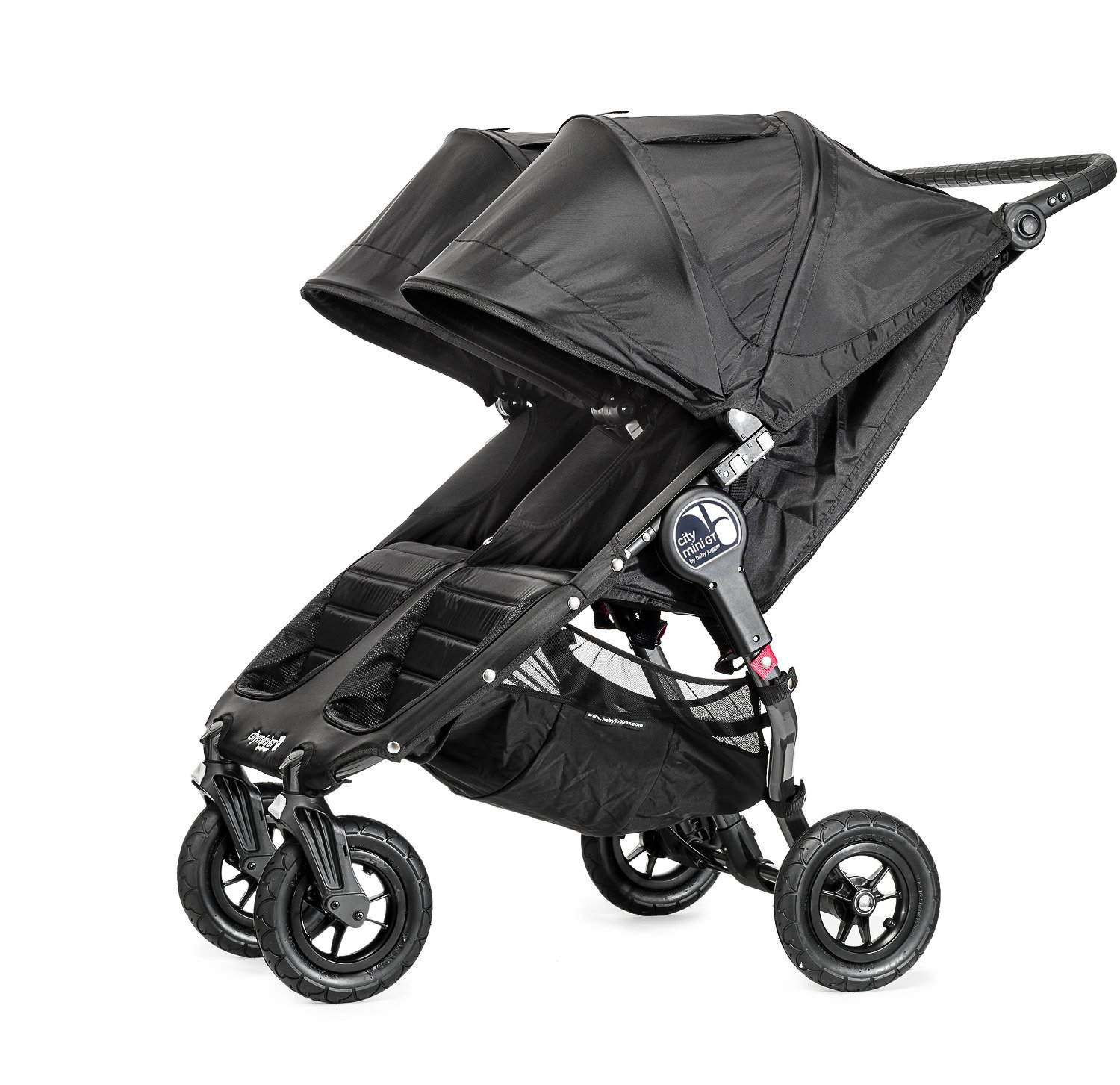Baby Jogger City Mini GT Double Stroller Black  Taking a little detour is fun, the City Mini GT Double offers all-terrain wheels that let you make your own rules; the all-terrain wheels and front wheel suspension work in unison to give you full control on where and how you go while keeping your little one comfortable Lift the straps and the City Mini GT Double folds itself: Simply and compactly, it really is as easy as it sounds; the auto-lock will lock the pushchair for transportation or storage An adjustable handlebar can accommodate different heights and a hand-operated parking brake keeps all the controls within reach 6