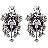 Total Fashion Celebrity Inspired Collection Oxidized Silver Alloy Stud Earrings for Women, Silver