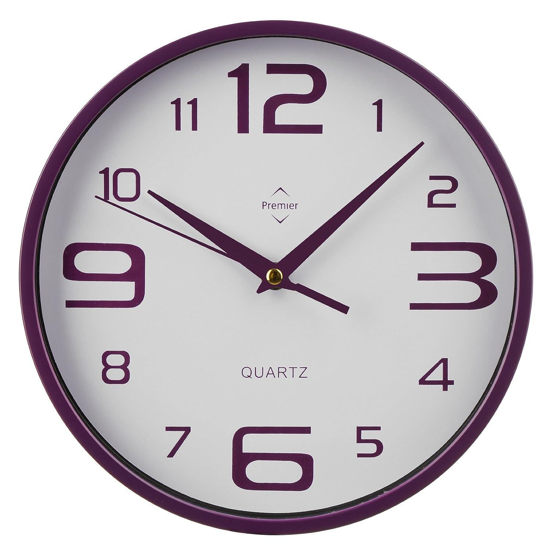 premier housewares round wall clock hot pink