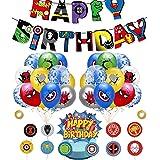 Kit de Decoraciones de Cumpleaños de Superhéroes Globos de Superhéroe Globos de Látex deSuperhéroes Cupcake Toppers Pancarta