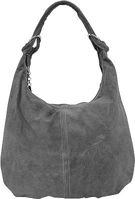 AMBRA Moda, borsa a mano da donna, borsa a spalla, borsa hobo, in vera pelle scamosciata italiana WL803