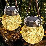JSOT Lanterne da Esterno, 30 LED Lampade Solare a Luci Solari Esterno Luci Giardino Vintage Lampada Vetro Esterno Impermeabil