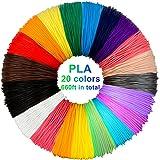PLA de filament de stylo 3D, 20 couleurs, 10M chacun - filament de PLA de stylo 3D 1.75mm, couleurs de stylo 3D réglées…
