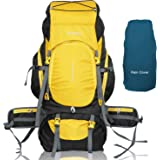 TRAWOC 75 Ltr Travel Backpack Camping Hiking Trekking Bag Rucksack with Rain Cover / Shoe Compartment, Yellow