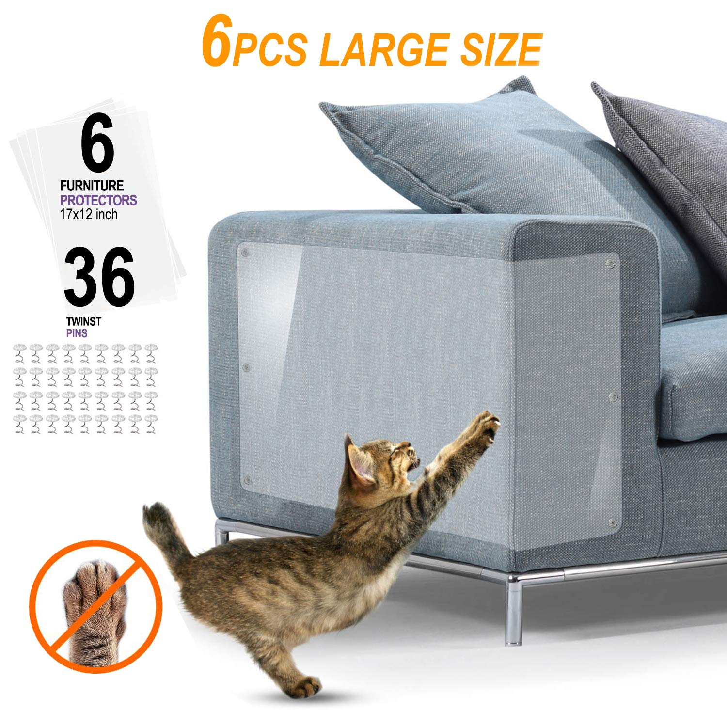 Protector Sofa Gatos – 6pack X-Large Protectores Muebles para Gatos – Pet Couch Protector (17in X 12in)