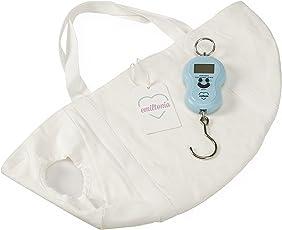 Emiltonia Babywaage - Digitale Waage für Neugeborene, Säuglinge, Frühchen und Babys - Wiegen wie die Hebamme (Set: Wiegetuch, Federwaage)