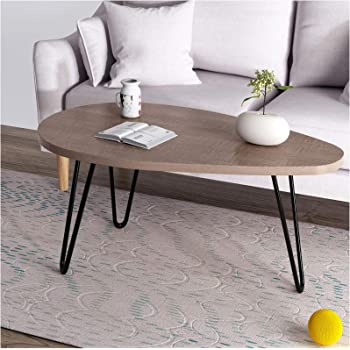 a06c22a3ab11dc CTF STELLA Walnut Oval Coffee Table Side Table End Table with Curved Metal  Legs