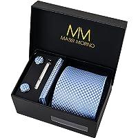 Massi Morino Cravatta con fazzoletto I Set Premium incl. gemelli e spilla per cravatta I Confezione regalo da uomo