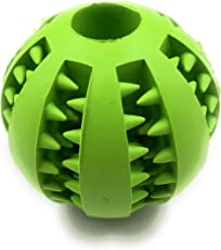 Premium Quality Dog Pet Ball with Gums Massager ~ Best for Teething Dogs (Small Breeds 5 cm Diameter, Green)