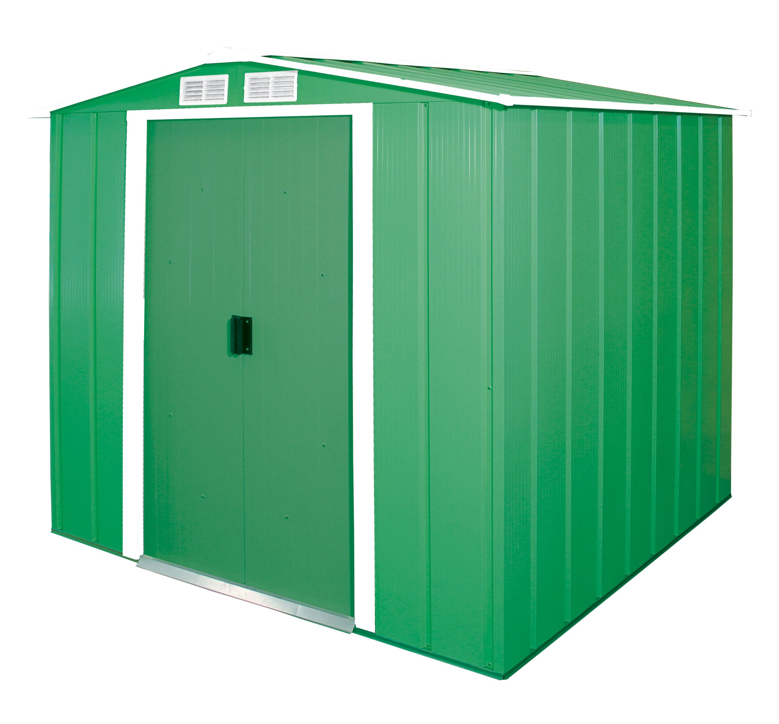 Duramax ECO 6′ x 6′ Hot-Dipped Galvanized Metal Garden Shed – Green with Off-White Trimmings – 15 Years Warranty