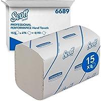 Essuie-Mains Enchevêtrés SCOTT* PERFORMANCE 6689 - 15 paquets de 274 petits formats blancs 1 pli