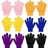 QKURT 6 pezzi Guanti magici elasticizzati per Bambini, Unisex Ragazzi Ragazze Knit Full Finger Gloves Guanti invernali per Ab