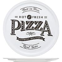 Cosy & Trendy 4562420 Assiette Céramique Hot - Fresh Pizza , Blanc,D 30cm