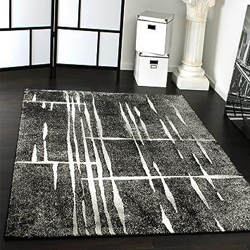 Teppich modern grau  Designer Teppich Modern Trendiger Kurzflor Teppich in Grau Schwarz ...